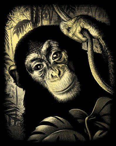 Reeves Carte à gratter Motif chimpanzé Doré