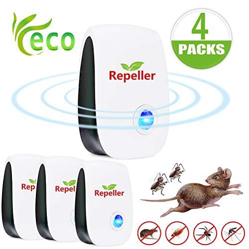 EGEYI Repelente Ultrasónico de Plagas, Electrónico Repelente Mosquitos Insectos para Interiores Anti Cucarachas, Moscas, Ratones, Arañas,Pulgas Ratones-(Paquete de 4)