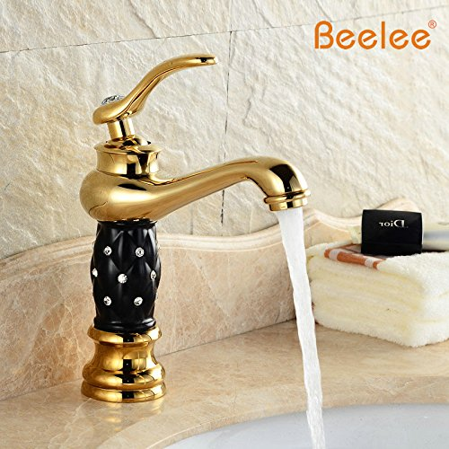 Burgund-gold-finish (tourmeler Euro Gold Finish Luxus Badezimmer Waschbecken Wasserhahn Small Single Griff mit Diamant Spüle Mixer Wasserhahn bl2020, Burgund)