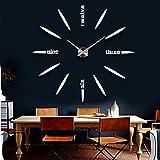 muhsein 2017 neue DIY Wanduhr moderne große 3D Uhr Acryl Spiegel Frameless Wandaufkleber Uhren Stil Zimmer Home Office Dekorationen Geschenk (Silber)