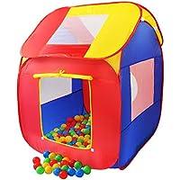 KIDUKU Tienda de campaña infantil piscina de bolas tienda de tela para niños pop up + 200 bolas + bolsa para interior y exterior