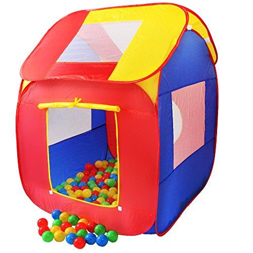 KIDUKU KZ-007 Kinderspielzelt Bällebad Pop Up Spielzelt mit 200 Bällen, mehrfarbig