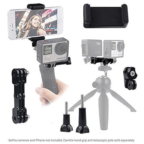 Extansion support double pour GoPro Hero, Phone Holder Universal et adaptateur trépied - enregistrer vos vidéos simultanément avec 2 angles - Utilisez votre smartphone comme un viseur et le contrôleur pour votre GoPro