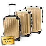 HAUPTSTADTKOFFER® · 3er Hartschalen Kofferset CHAMPAGNER Hochglanz · Handgepäck 45