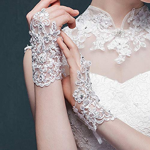 JHLWLS Brauthandschuhe DamenQualität Finger Kurze Elegante Strass Hochzeit Handschuhe -