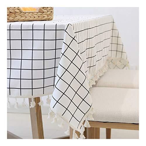Tovaglia tovaglia a quadretti bianca e nera classica tovaglia quadrata rotonda in fibra di poliestere coperta in lino per interni ed esterni ristorante barbecue da campeggio la tovaglia