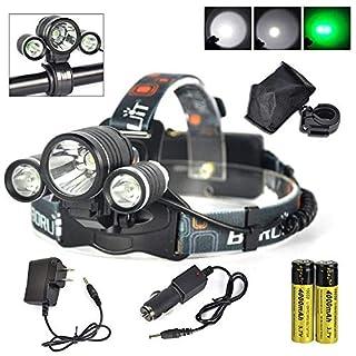SLGJYY 13000LM XML T6 + 2R5 Grün 3X LED Scheinwerfer Scheinwerfer Taschenlampe 18650 + Ladegerät