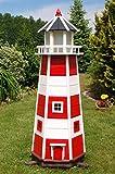 Deko-Shop-Hannusch XXL Leuchtturm mit LED Beleuchtung, sparsam, Rot - Weiß, 1,40m XXL