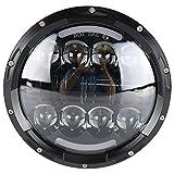 ZHITEYOU 2 PCS 7 pollici rotondo 80 w led wrangler fari 80w hi / lo beaming fari ad alta potenza 12 / 24v con bianco e giallo DRL per 4x4 fuoristrada camion per Jeep Wrangler / Harley Davidson , black
