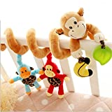 Adorable Monkey Jungle Animals Bell Baby Music Bed Hanging Cribs Toy-Baby Children...