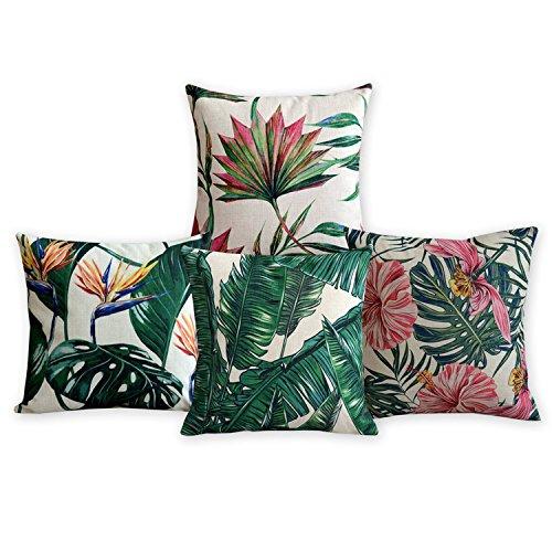 Amerikanische Kissen Flamingos und Palm Leaf Moderne Kunst Baumwoll Leinen Kissenbezug Komfortable Kissen Dekorative Kissen Home Decor Sofa Throw Pillow Case Set von 4 Kissenbezug (Natürliche Dekorative Kissen)
