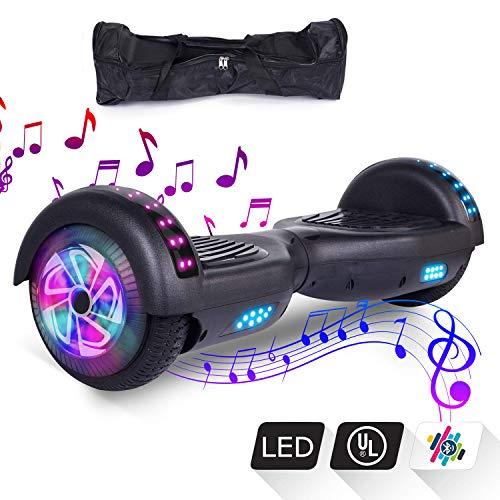"""VEVEpower Patinete Eléctrico 6,5"""" Hoverboard, Potente batería de Litio 300W*2 Motor Eléctrico Scooter, Bluetooth Altavoz Balance Board con LED, Certificado UL, Negro"""