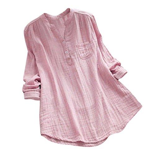 YEBIRAL Damen Bluse Lose Einfarbig Große Größen V-Ausschnit Langarm Leinen Lässige Tops T-Shirt Bluse S-5XL(EU-50/CN-5XL,Rosa) -