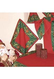 nappe - rouge - vert - broderie - étoile de Noël -