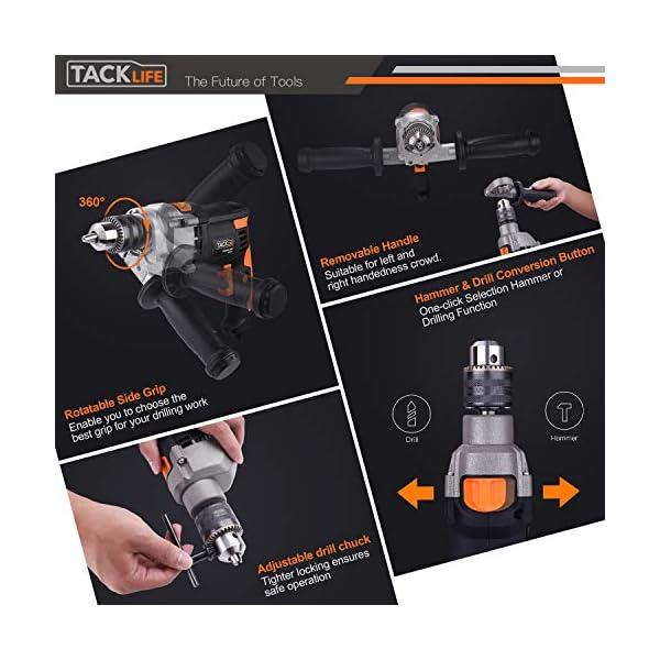 Taladro Percutor, TACKLIFE 850W 3000RPM Taladro Eléctrico con Varios accesorios y Maletin portátil, Martillo Taladro 2 Funciones en 1, 360° Empuñadura Giratoria de Metal – PID03B