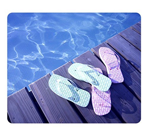 Creative Design Mouse Pad Rectangle Small Mouse Pad Funky Colorful Beach Slippers Pool Rectangle Non-Slip Mousepad Customized Oblong Gaming Mouse Pads - Pool Spa Design