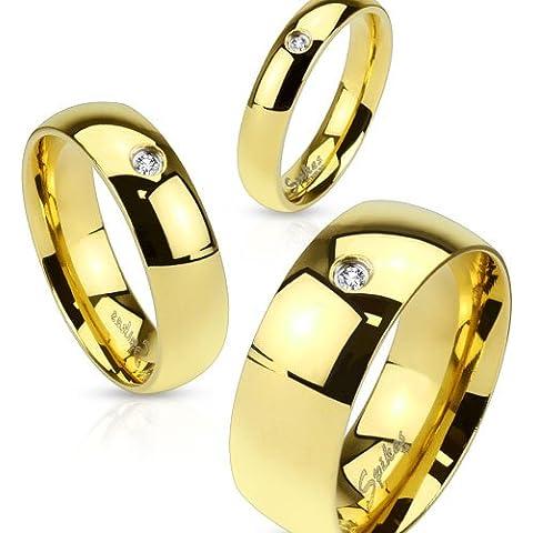bungsa® nuziale anello oro con cristallo acciaio inox donna & uomo, 49–70(anello gioielli anello zirconi Partner anelli anelli di fidanzamento TRAURINGE anello da donna acciaio chirurgico)
