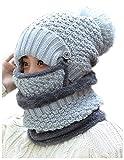 WETOO Damen Wintermütze Strickmütze Gefüttert Warm und Schal Set mit Bommel