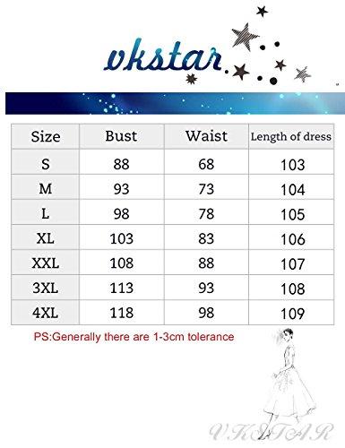 VKStar® Damen 50s Vintage Retro Rockabilly kleid Blumen Kleid Sommerkleid Cocktailkleid Swing Kleid Hellblau L - 6