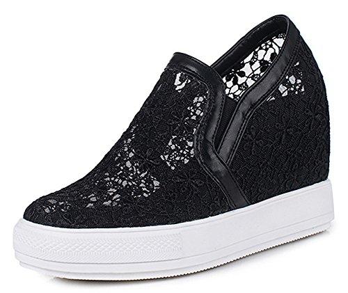 Aisun Femme Confortable Dentelle Talon Compensé Sneakers Noir