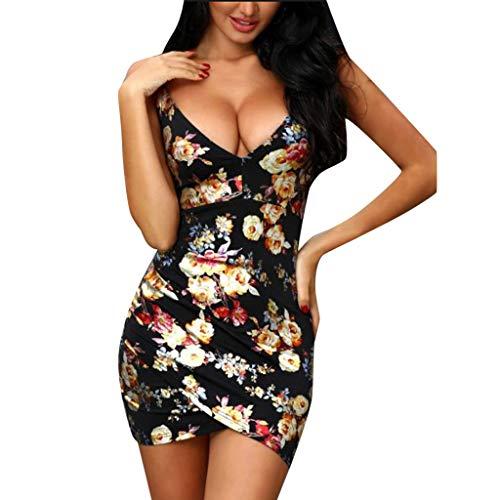 r V-Neck Blumen Kleider Party Abendkleid Casual Loose Mini Kleid Dress Enges Kleid mit ärmellosen Druckkleider Blumendruck Ballkleider (Small, Schwarz 3) ()