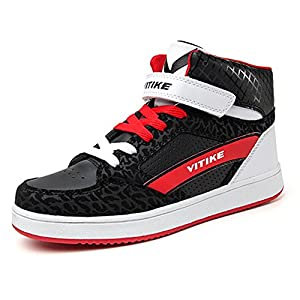 ashion Unisex-Kinder Leather High Top Skateboardschuhe Basketballschuhe Damen Turnschuhe Leuchtet Sohle Sneaker Weiß Schwarz