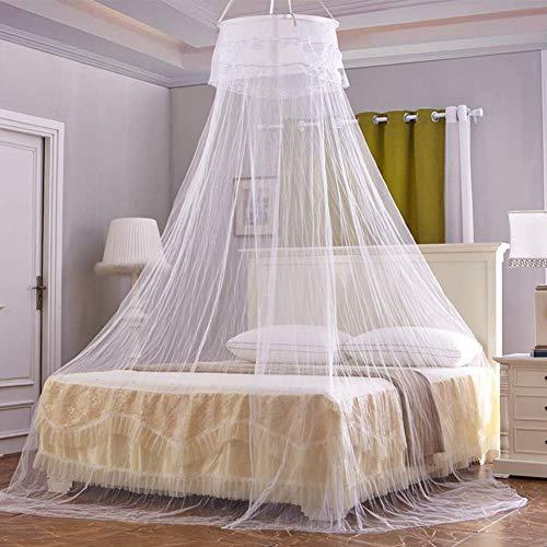 Moskitonetz Luna, Mückennetz inkl Montagematerial,Mückenschutz, Moskitoschutz,Insektenschutz auch auf der Reise rundes Netz Vorhang,einfache Anbringung, Tragetasche, Keine Chemikalien, White - Rennen-auto-vorhänge
