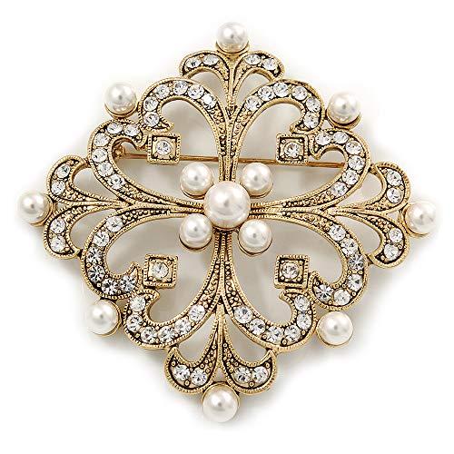 Unbekannt Viktorianischer Stil Glas Pearl, klar quadratisch Kristall Filigran Brosche in Antik Gold Tone-63mm L -