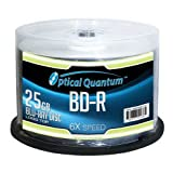 Optische Quantum oqbdr06lt-50 6 x 25 GB BD-R Single Layer Blu-Ray beschreibbare blanko Media Logo Top 50 Discs