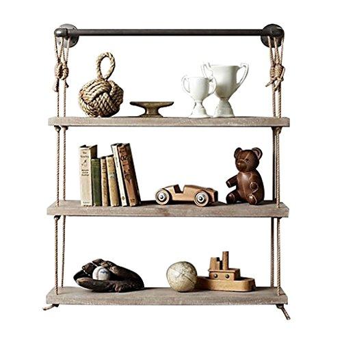 DS Shelf Retro Loft Style Wall Mounted mit Hanfseil und Eisen Metall Regal Racks | Loft an der Wand befestigtes Schindel-Bücherregal-Einheits-Blumen-Gestell | # (Farbe : 80*25*95cm) (Moderne Display-einheit)