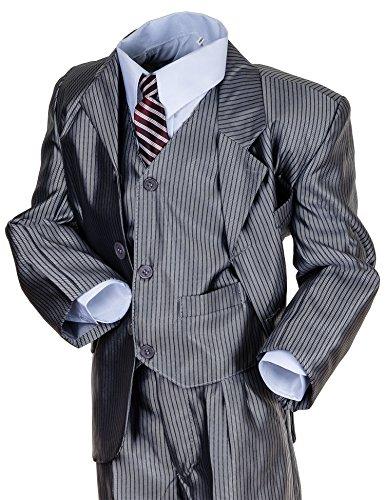 Festlicher 5tlg. Jungen Anzug in 4 Farben (6 / 110 / 116, #405 Silber)