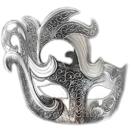 zianische Maske Halloween Maske White Ghost Dance Maske Half Face Monster Maskerade Requisiten, große Gebogene Ecke Silber ()