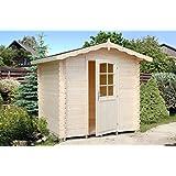 Gartenhaus Fagus F1 inkl. Fußboden, naturbelassen - 28 mm Blockbohlenhaus, Grundfläche: 3,80 m², Satteldach