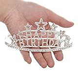 SWEETV Happy Birthday Tiara Kristalle Geburtstagsfeier Krone Erwachsene Kinder Diadem mit Haarkämme, Silber -