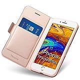 Coque iPhone 7/8 Plus, Ultra Mince Portefeuille (Emplacement pour Cartes + Fermeture Magnétique) Rabat Flip Case - Clapet Folio Étui, Cuir PU Housse + TPU Bumper Antichoc Protection Apple 5,5 Or Rose