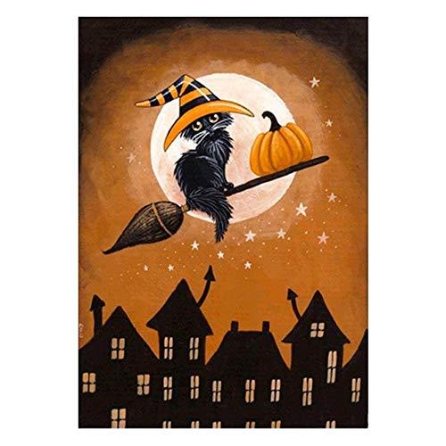 de Malen nach Nummer Kit für Kinder Erwachsene Anfänger 16x20 Zoll - Halloween Schwarze Katze, Zeichnen mit Pinsel Weihnachtsdekor Dekorationen Geschenke (Ohne Rahmen) ()