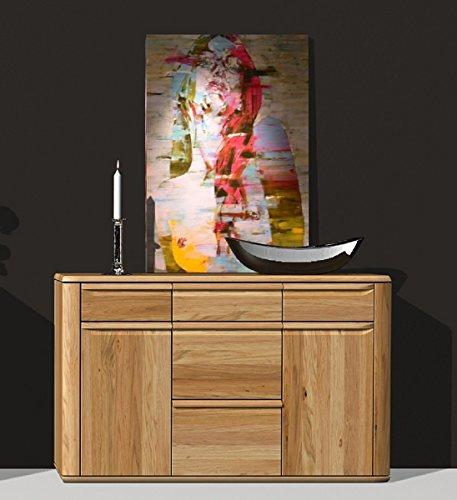 Dreams4Home Sideboard 'Merkur' - Schrank, Kommode, Wohnelement, Wohnzimmer, 2 Türen, 5 Schubkästen, in Eiche massiv, furniert