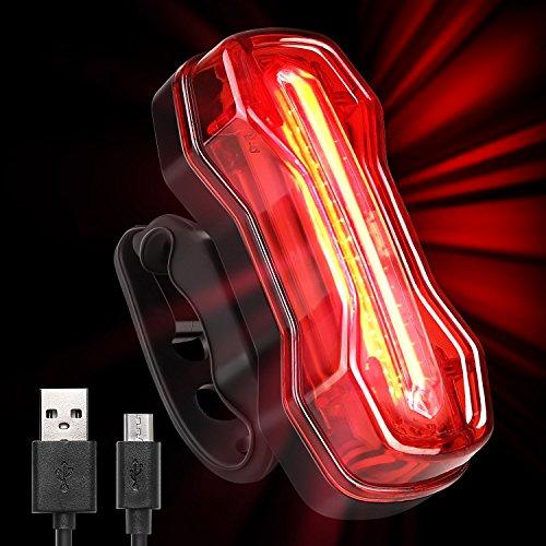 Albrillo COB LED Eclairage Arrière de Vélo, Eclairage Vélo puissant 120LM, USB Rechargeable, Imperméable, 7 modes d'Eclairage, Feu rouge en Eclairage de sécurité et Cycliste Camping