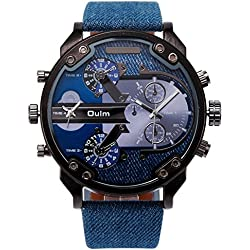 Men's large dial outdoor sports leather strap watch