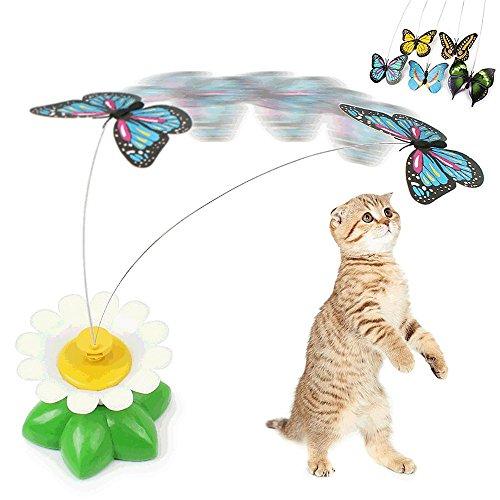 Giocattolo elettrico per gatti con animaletto rotante, simil farfalla o uccellino, attaccato ad un filo in acciaio