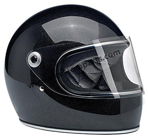 Casco Integrale Biltwell Gringo S Nero Lucido Glitterato Midnight Black Miniflake Helmet Vintage Retrò Anni 70 Custom Chopper Bobber Taglia S