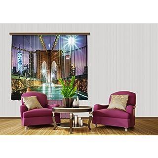 AG Design FCSXL 4817 Brooklyn Bridge, Gardine/Vorhang, 2 Teile Stoff, mehrfarbig, 140 x 245 cm