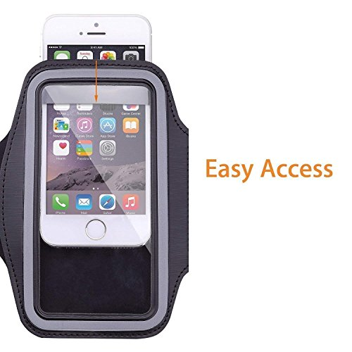 Zuffon Neoprene Armband for iPhone 5S for sports Size upto 6 inch Hole for Earphone or audio wire