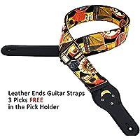 WINGO. Correa de guitarra de 5 cm con extremos de piel auténtica ajustable para bajos, guitarras acústicas clásicas y eléctricas, estilo vintage, cinturón para hombres, mujeres, niñas, niños con púas.