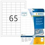 Herma 4212 Universal Etiketten ablösbar (38,1 x 21,2 mm) weiß, 1.625 Aufkleber, 25 Blatt DIN A4 Papier matt, bedruckbar, selbstklebend, Movables