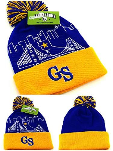 Golden State New Leader Knit Bridge Beanie Toque Warriors Colors Skyline Blau Gold Puffed Pom Era Mütze New Era Toque