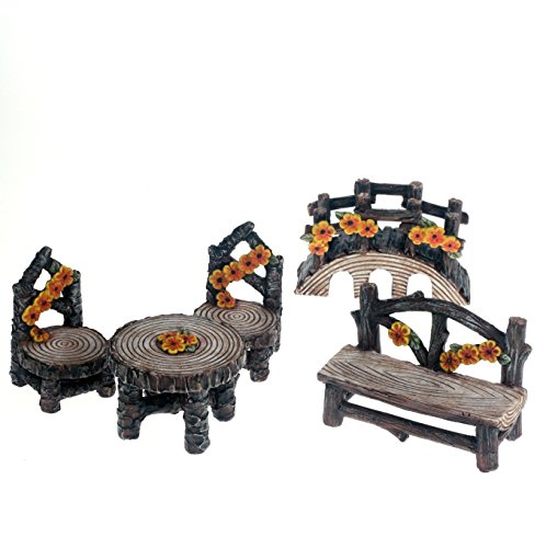 5 Piece Miniature Fairy Garden Furniture / Rustic Fairy chairs and bench …