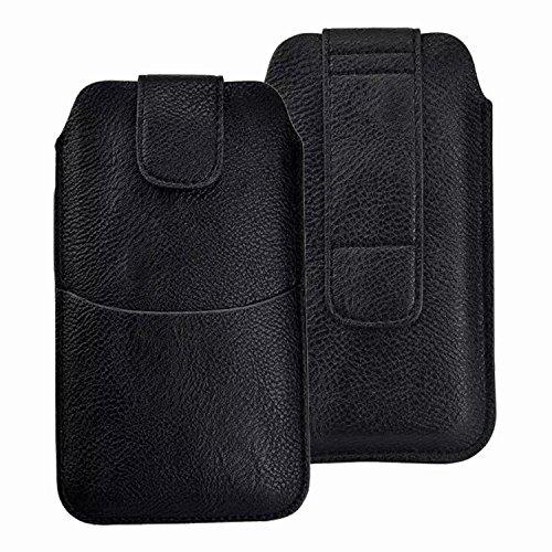 DAYNEW für 5.2 Zoll Universal-PU-Leder Hüfttasche Handytasche Tasche Smartphone Gürtelclip Haken Schleife Geldbörse Tasche für iPhone Samsung Sony Huawei-Schwarz