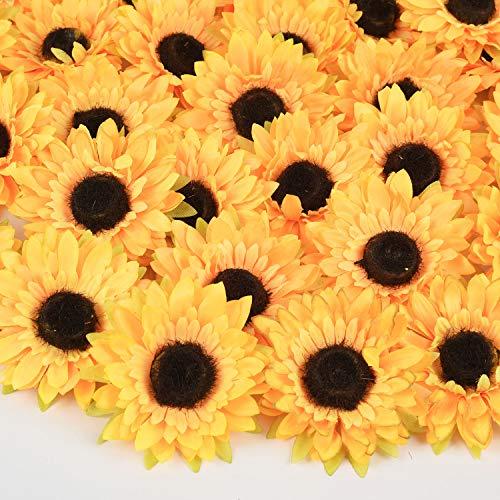DearHouse Künstliche Sonnenblumenköpfe aus Seide, Gelb 25pc Sunflower Heads (Der Ideen Handwerk Der Mutter Tag)