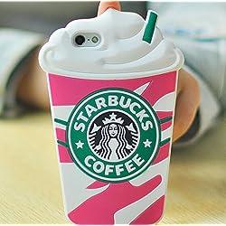 Starbucks Glace 3D Coque souple en Silicone, rouge, iPhone 5/5S